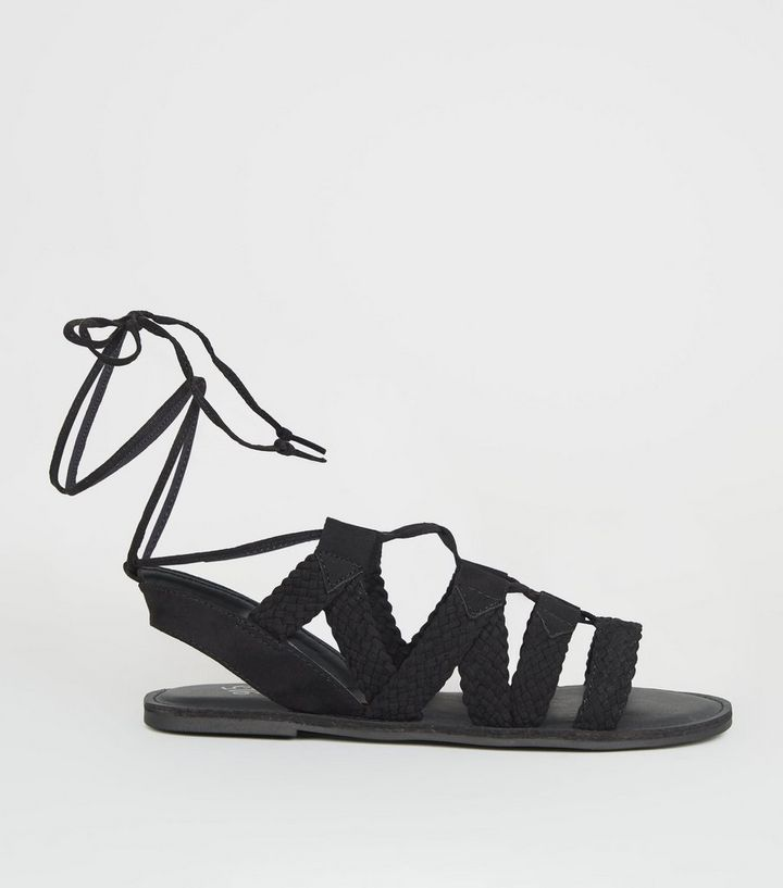 d5bcdade48d Girls Black Woven Lace Up Ghillie Sandals Add to Saved Items Remove from  Saved Items