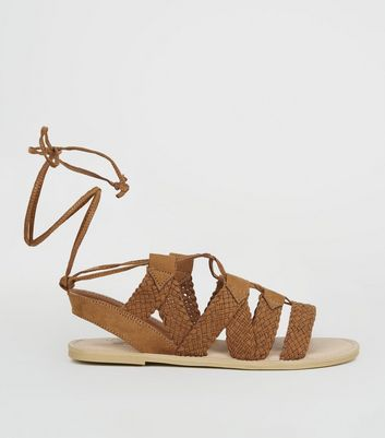 Girls Tan Woven Lace Up Ghillie Sandals