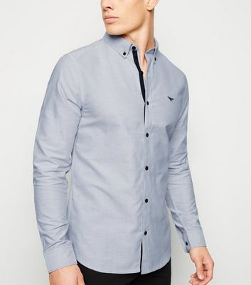 Pale Grey Embroidered Long Sleeve Oxford Shirt