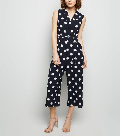 ... AX Paris Navy Polka Dot Wrap Jumpsuit ... 8acd7bbdd