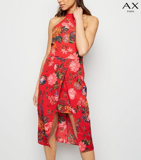 08f91350b485 ... AX Paris Red Floral Overlay Dress ...