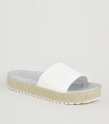 Girls White Glitter Espadrille Flatform Sliders