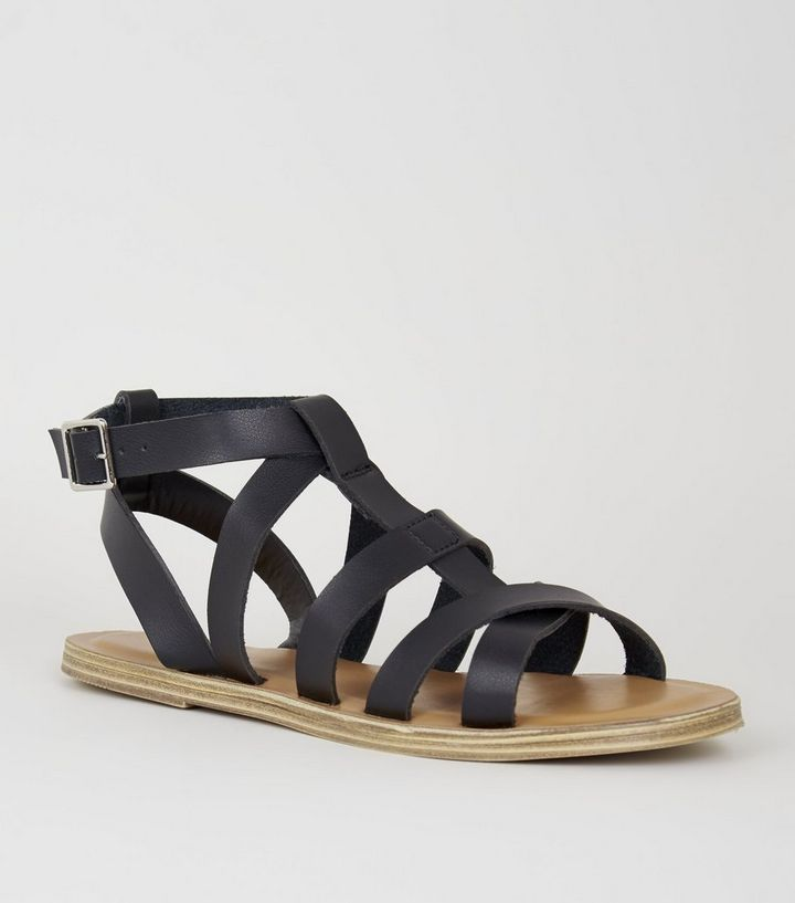 69a4a15582 Girls Black Leather-Look Gladiator Sandals | New Look