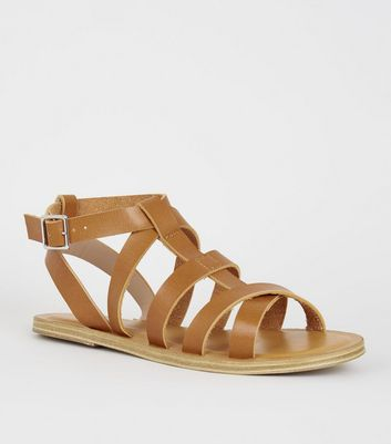 Girls – Hellbraune Römersandalen in Leder-Optik