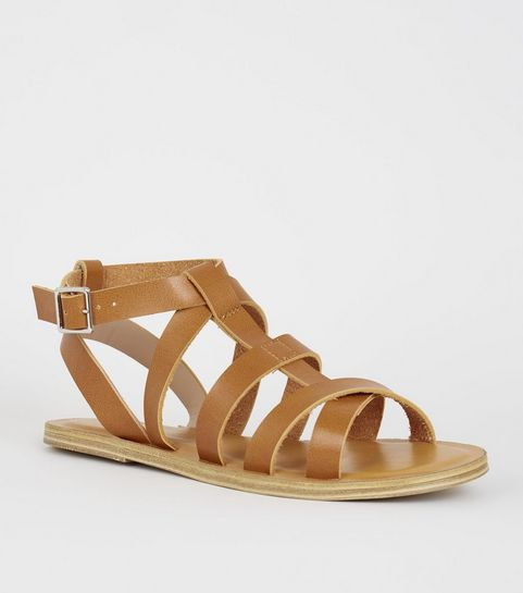 ad112dcfb ... Girls Tan Leather-Look Gladiator Sandals ...