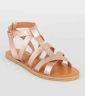 Girls Rose Gold Leather-Look Gladiator Sandals