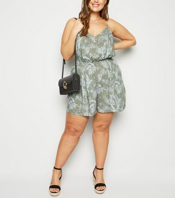 Curves Green Tropical Button Front Playsuit