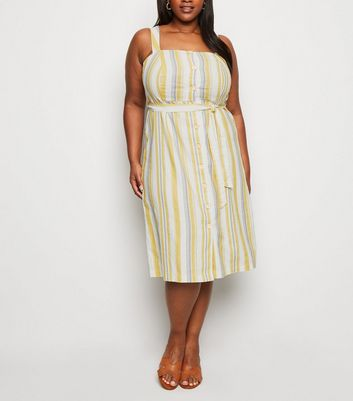 Curves Off White Stripe Linen Look Midi Dress