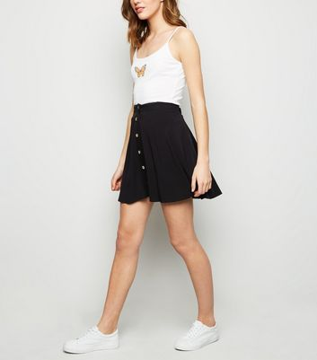 Black Button Up Mini Skirt by New Look