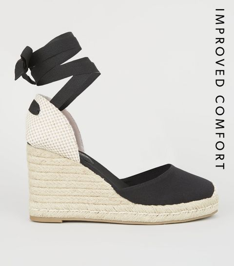 c7464071a79 ... Black Ribbon Tie Espadrille Wedge Heels ...