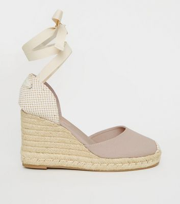 Grey Ribbon Ankle Tie Espadrille Wedges