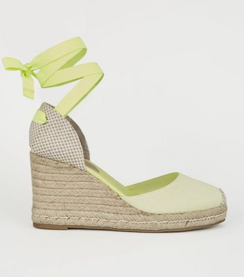 Light Green Ribbon Ankle Tie Espadrille Wedges