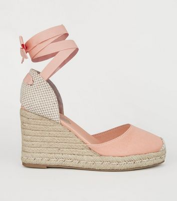 Orange Ribbon Ankle Tie Espadrille Wedges