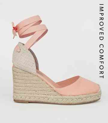 huge selection of a359d dffea Orange Ribbon Ankle Tie Espadrille Wedges ...