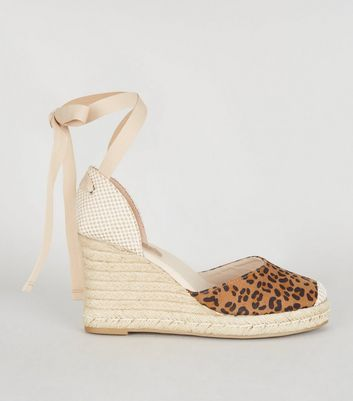 Stone Leopard Print Ankle Tie Wedges Add to Saved Items Remove from Saved Items