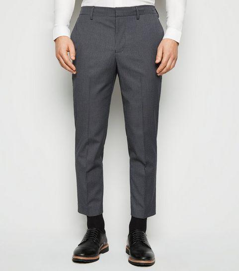 9777df28aa2 ... Dark Grey Check Skinny Crop Trousers ...