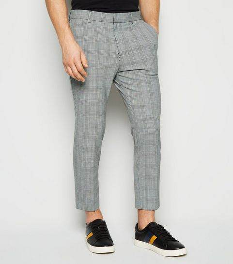 e8d6aa43784 ... Light Grey Check Skinny Crop Trousers ...