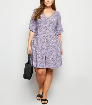 Curves Purple Ditsy Floral Lattice Side Tea Dress