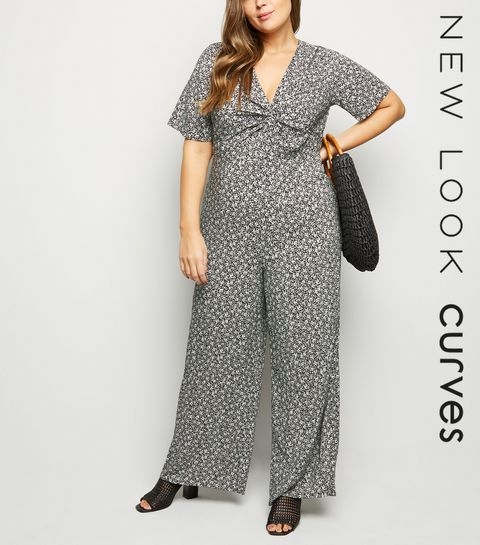 c79601a472 ... Curves Black Floral Twist Front Jumpsuit ...