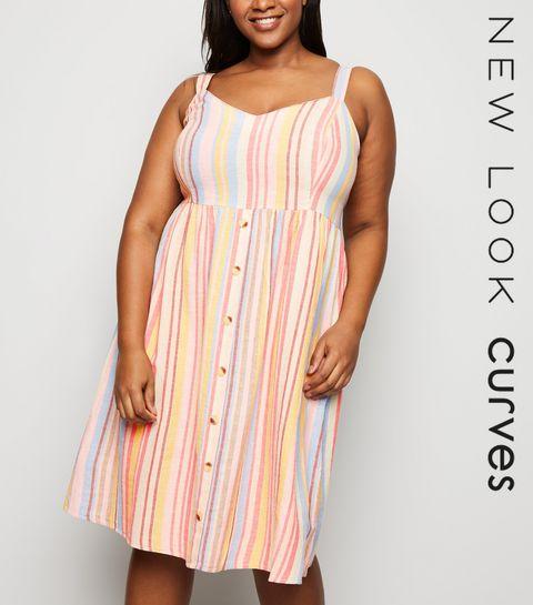 3c7afa0c6ba ... Curves Pink Stripe Button Front Midi Dress ...