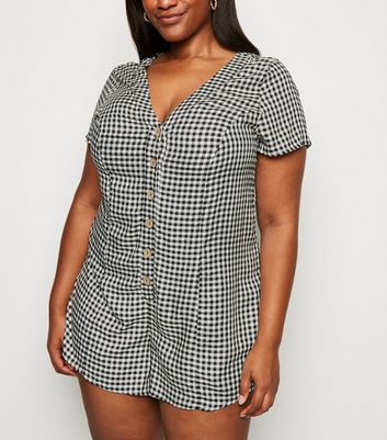 Curves Black Gingham Button Front Playsuit