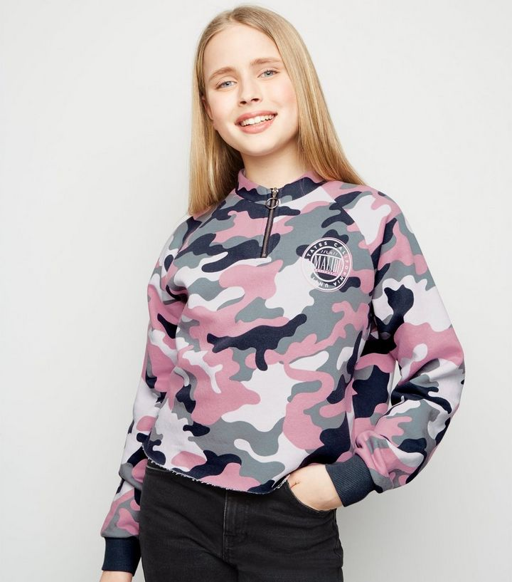 price reduced double coupon purchase cheap Girls Pink Camo Malibu Slogan Sweatshirt Add to Saved Items Remove from  Saved Items