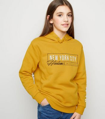Girls Yellow New York City Harlem Slogan Hoodie