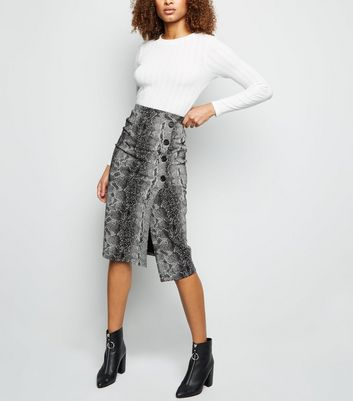 Light Grey Snake Print Button Side Pencil Skirt