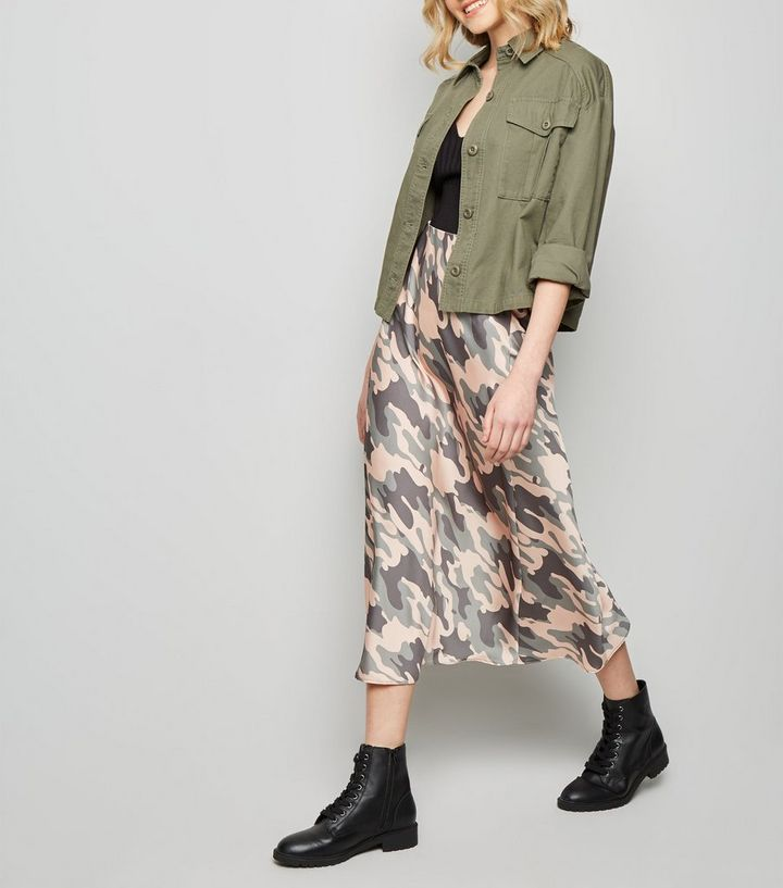 7f026cc3840 Green Camo Bias Cut Satin Midi Skirt Add to Saved Items Remove from Saved  Items