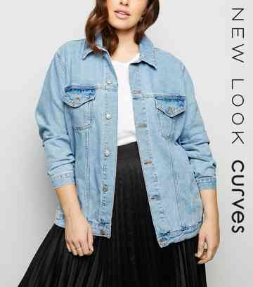 Curves Pale Blue Denim Jacket