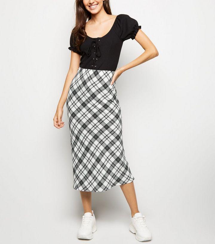 51c5602cba24 White Check Bias Cut Midi Skirt   New Look