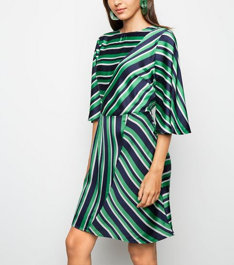 c60d3e9ac55 ... AX Paris Green Stripe Satin Dress ...