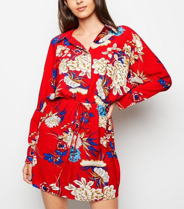 31735240fc90 AX Paris Red Floral Batwing Sleeve Dress | New Look