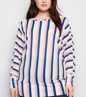 Blue Vanilla Curves Blue Batwing Striped Plissé Top
