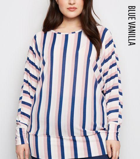aa8f4b88607 ... Blue Vanilla Curves Blue Stripe Plissé Top ...