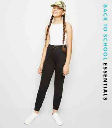 Girls Black Jersey Joggers
