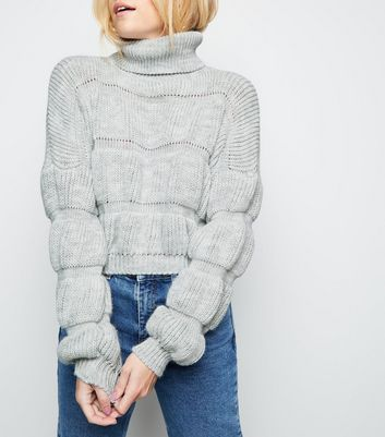 Cameo Rose Grey Roll Neck Bubble Jumper