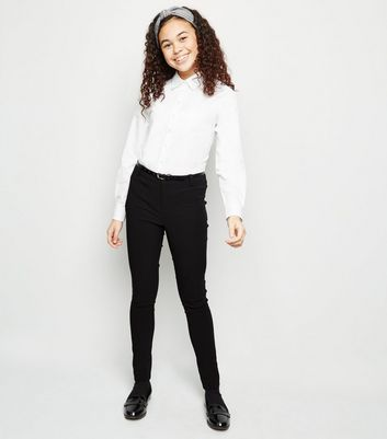 Girls Black Belted Super Skinny Trousers