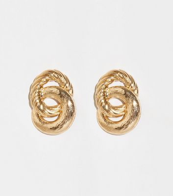 Gold Embossed Linked Hoop Earrings