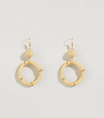 Cream Bamboo Drop Hoop Earrings