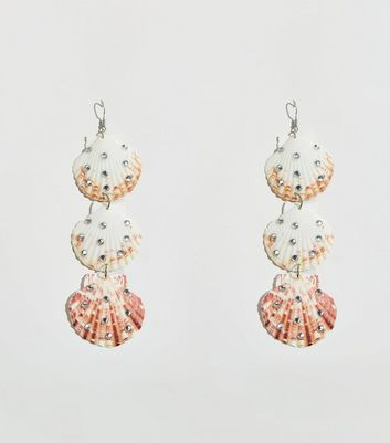 Silver Diamanté Embellished Shell Earrings