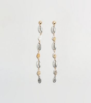 Silver and Gold Shell Drop Earrings
