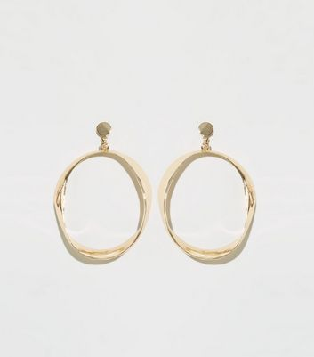 Gold Folded Hoop Drop Earrings