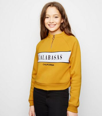 Girls - Sweat moutarde à slogan Calabasas