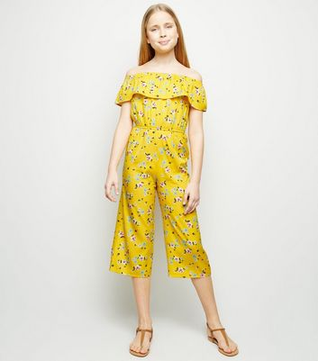 Girls Yellow Floral Frill Bardot Jumpsuit