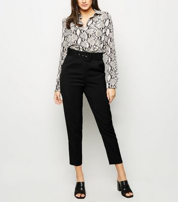 Cameo Black Belted Slim Leg Trousers