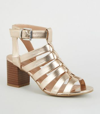 b0fc9d8ab75 Girls Rose Gold Gladiator Block Heels New Look