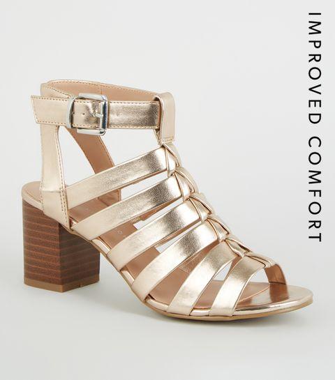 ae8a114b41b ... Girls Rose Gold Gladiator Block Heels ...