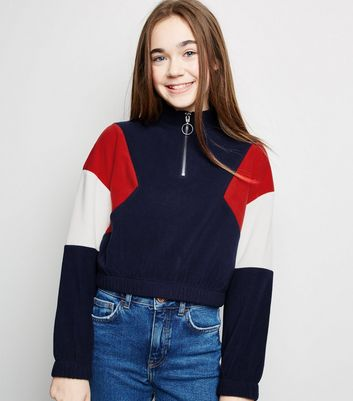 Girls Blue Colour Block Fleece Sweatshirt