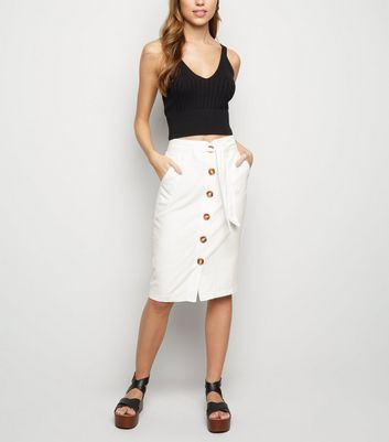 White Linen Blend Pencil Skirt